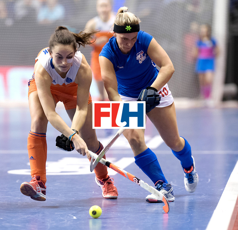 BERLIN - Indoor Hockey World Cup<br /> Quarterfinal 4: Netherlands - Czech Republic<br /> foto: Kiki van WIjk and KYNDLOVA Klara.<br /> WORLDSPORTPICS COPYRIGHT FRANK UIJLENBROEK