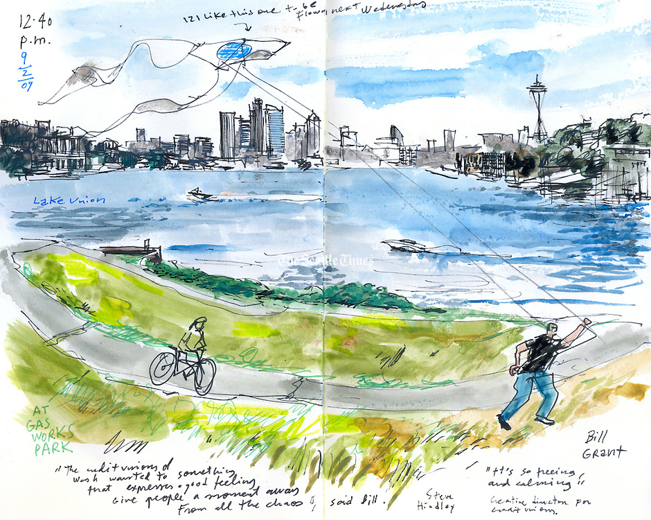 Kite flying on &quot;Kite Hill&quot; at gasworks park on Lake Union. (Gabriel Campanario / The Seattle Times)<br /> <br /> REPRODUCTION INCLUDES SEAM OF SKETCHBOOK