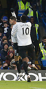 Everton Striker Romelu Lukaku and Everton midfielder Kevin Mirallas celebrate his goal during the Barclays Premier League match between Chelsea and Everton at Stamford Bridge, London, England on 16 January 2016. Photo by Andy Walter.