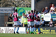 Aston Villa striker Jonathan Kodjia (26) scores a goal 1-0 and celebrates during the EFL Sky Bet Championship match between Burton Albion and Aston Villa at the Pirelli Stadium, Burton upon Trent, England on 8 April 2017. Photo by Richard Holmes.