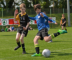 Four Master NS Leitrim and Bawnmore NS in action at the SPAR FAI Primary Schools 5&rsquo;s Connacht finals at Solar Park Mayo. The provincial winners they will progress to the SPAR FAI Primary School 5&rsquo;s National Finals in the Aviva Stadium on May 31st.<br /> Pic Conor McKeown
