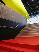 Red stairway. Seattle Public Library, designed by Dutch architect Rem Koolhaas, finished in 2004. Address: 1000 Fourth Ave, Seattle, Washington 98164, USA.