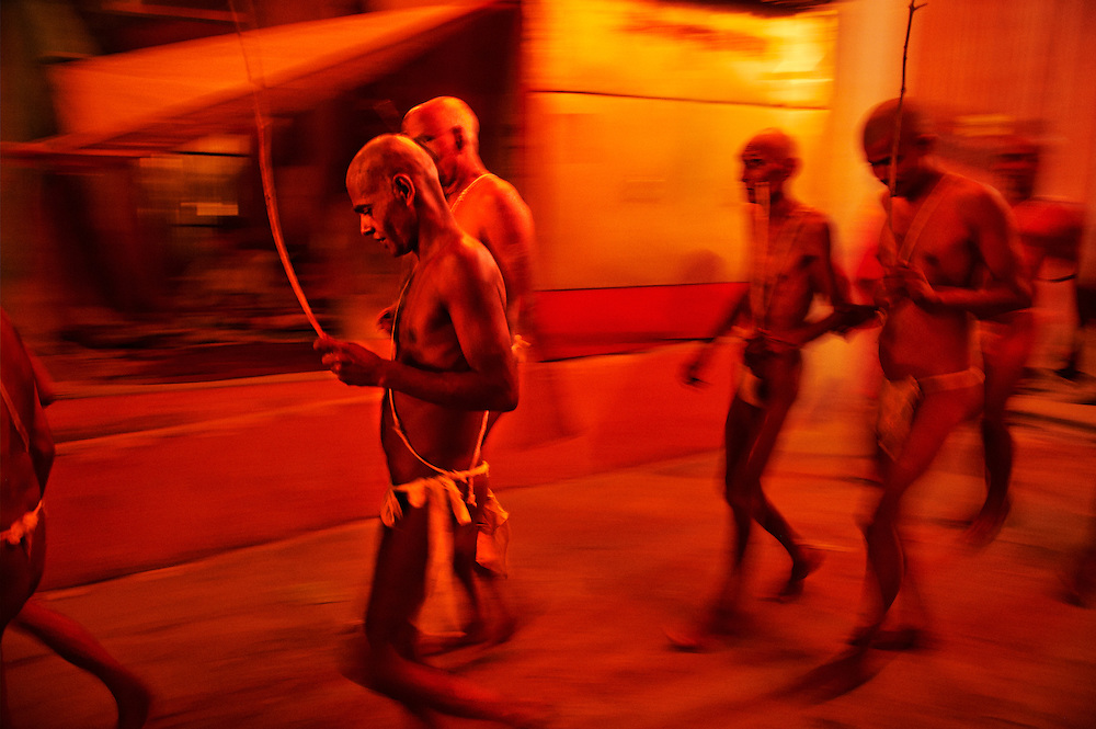 After the vijay hawan, some newly initiated Naga Sadhus walk in procession to take a bath in the river Ganges. Its a part of the process of their initiation as Naga Sadhus, which can only be done during the Kumbh Mela.<br />