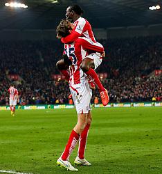Stoke City's Peter Crouch celebrates after scoring the equaliser 1-1 - Photo mandatory by-line: Matt McNulty/JMP - Mobile: 07966 386802 - 11/02/2015 - SPORT - Football - Stoke - Britannia Stadium - Stoke City v Manchester City - Barclays Premier League