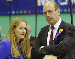 © Licensed to London News Pictures. 08/05/2015<br /> Local Parliamentary Elections TONIGHT (08.05.2015)<br /> Mark Reckless with his wife, Catriona Brown-Reckless.<br /> <br /> Catriona Brown-Reckless,  is now a UKIP Councillor for Strood South after her win tonight at the Local election count in Medway,Kent<br /> <br /> Local Election count 2015  in Medway, Kent at Medway Park Sports Centre,Gillingham.<br />  <br /> (Byline:Grant Falvey/LNP)