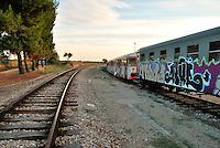 Le Ferrovie del Sud Est nascono in Puglia, nell'ottobre del 1931. A questà nuova società veniva dato in concessione l'insieme delle reti ferroviarie precedentemente gestite da diversi organismi (Società per le Ferrovie Salentine, Società per le Ferrovie Sussidiate, Ferrovie dello Stato)..Le aree pugliesi attraversate dalla società ferroviaria sono l'area barese, la fascia Taranto-Brindisi e l'area leccese-salentina, collegando fra loro i capoluoghi di Bari, Taranto e Lecce, nonché oltre 130 comuni delle province meridionali..Il reportage fotografico sulle Ferrovie Sud Est intende testimoniare l'evoluzione tecnologica che, durante gli anni, ha modificato e migliorato il servizio ferroviario e la convivenza del progresso con tracce del passato, attraverso un viaggio tra le stazioni e i depositi..Deposito in cui vengono parcheggiati i treni che saranno destinati allo sfascio.