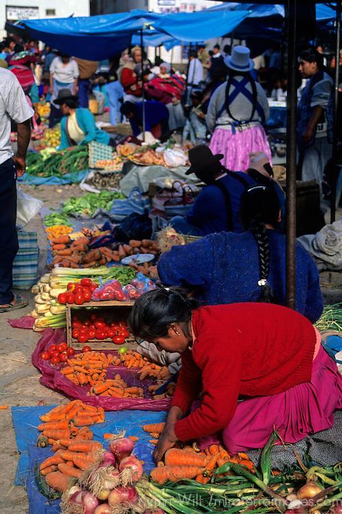 South America, Peru, Pisac. Pisac market scene in the Sacred Valley.