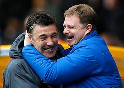 Wolves' manager Dean Saunders and Huddersfield manager Mark Robins share a pre match joke- Photo mandatory by-line: Matt Bunn/JMP  - Tel: Mobile:07966 386802 13/04/2013 - Wolverhampton Wanderers v Huddersfield Town - SPORT - FOOTBALL - Championship -  Wolverhampton - Molinuex-
