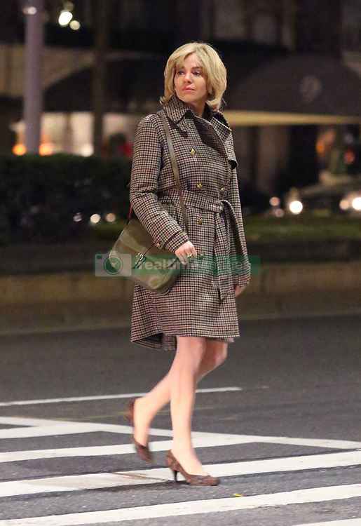 """First Look at Sienna Miller as Roger Ailes's wife Beth for """"The Loudest Voice"""" filming in Manhattan's Upper West Side area. Sienna was filming a late-night scene and sporting a blonde wig and some prosthetics on her face to make her look slightly older for the role. Russell Crowe will be playing the lead role of Fox News Chief Roger Ailes. 07 Dec 2018 Pictured: Sienna Miller. Photo credit: LRNYC / MEGA TheMegaAgency.com +1 888 505 6342"""
