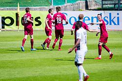 NK Triglav players celebrate during football match between NK Triglav Kranj and NK Ankaran Hrvatini in Round #28 of Prva Liga Telekom Slovenije 2017/18, on April 22, 2018 in Sports park Kranj, Kranj, Slovenia. Photo by Ziga Zupan / Sportida