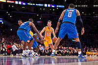 30 October 2012: Guard (10) Steve Nash of the Los Angeles Lakers drives to the basket against the Dallas Mavericks during the second half of the Mavericks 99-91 victory over the Lakers at the STAPLES Center in Los Angeles, CA.