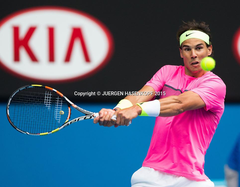 Rafael Nadal (ESP)<br /> <br /> Tennis - Australian Open 2015 - Grand Slam ATP / WTA -  Melbourne Olympic Park - Melbourne - Victoria - Australia  - 27 January 2015.