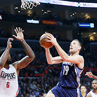 09 November 2015: Memphis Grizzlies guard Beno Udrih (19) goes for the layup past Los Angeles Clippers guard Jamal Crawford (11) and Los Angeles Clippers center DeAndre Jordan (6) during the Los Angeles Clippers 94-92 victory over the Memphis Grizzlies, at the Staples Center, in Los Angeles, California, USA.