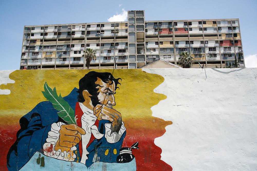 A painting of Simon Bolivar in the 23 de Enero barrio in Caracas.