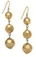 fancy gold earrings with three gold balls