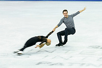 KELOWNA, BC - OCTOBER 24:  Canadian Pairs figure skaters, Kirsten Moore-Towers and Michael Marinaro, warm up on the ice during practice sessions at Skate Canada International at Prospera Place on October 24, 2019 in Kelowna, Canada. (Photo by Marissa Baecker/Shoot the Breeze)