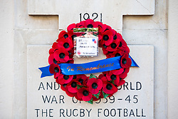 Bristol Rugby Former Players wreath hangs on the gatepost during a Remembrance Service outside the Memorial Gates at Bristol Rovers' Memorial Stadium - Rogan/JMP - 10/11/2017 - FOOTBALL - Memorial Stadium - Bristol, England.