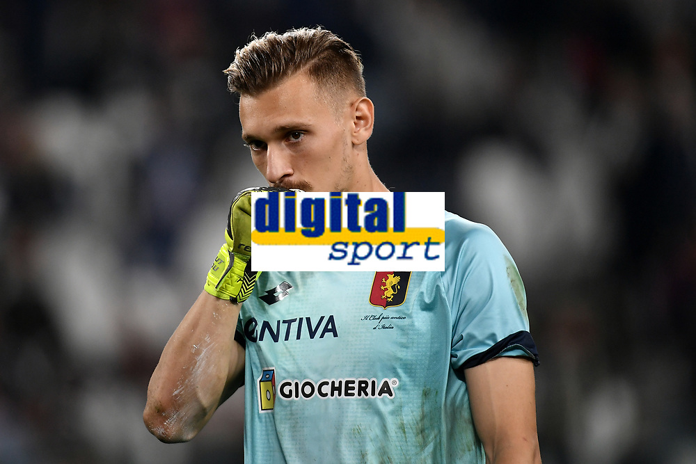 Ionut Radu of Genoa celebrates at the end of the Serie A 2018/2019 football match between Juventus and Genoa CFC at Allianz Stadium, Turin, October, 20, 2018 <br />  Foto Andrea Staccioli / Insidefoto