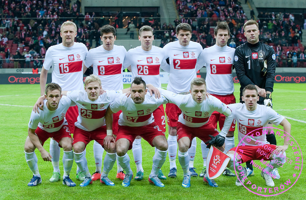 (UPPER ROW, L-R) Kamil Glik & Robert Lewandowski & Lukasz Piszczek & Sebastian Boenisch & Grzegorz Krychowiak & goalkeeper Artur Boruc and (DOWN ROW, L-R) Maciej Rybus & Daniel Lukasik & Marcin Wasilewski & Jakub Blaszczykowski & Radoslaw Majewski all from Poland pose to picture before the 2014 World Cup Qualifying Group H soccer match between Poland and Ukraine at National Stadium in Warsaw on March 22, 2013...Poland, Warsaw, March 22, 2013...Picture also available in RAW (NEF) or TIFF format on special request...For editorial use only. Any commercial or promotional use requires permission...Photo by © Adam Nurkiewicz / Mediasport
