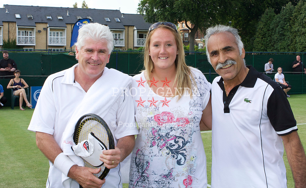 MANCHESTER, ENGLAND: Paul McNamee (AUS) and Mansour Bahrami (IRN) with Kris George on Day 4 of the Manchester Masters Tennis Tournament at the Northern Tennis Club. (Pic by David Tickle/Propaganda)