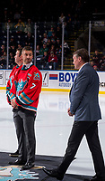 KELOWNA, CANADA - OCTOBER 3:  Former Kelowna Rockets' captain Josh Gorges stands on the ice for the Memorial Cup Bid Announcement on October 3, 2018 at Prospera Place in Kelowna, British Columbia, Canada.  (Photo by Marissa Baecker/Shoot the Breeze)  *** Local Caption ***