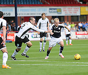 Dundee's  Nicky Low runs at St Johnstone&rsquo;s David Mackay- Dundee v St Johnstone at Dens Park <br /> - Ladbrokes Premiership<br /> <br />  - &copy; David Young - www.davidyoungphoto.co.uk - email: davidyoungphoto@gmail.com
