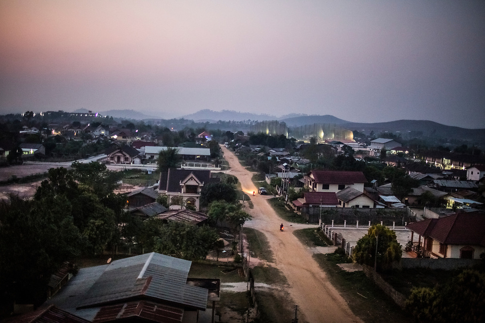 A view over Phonsavan at dusk, in Xieng Khouang province, Laos.