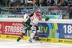 21.12.2014, Curt-Fenzel-Stadion, Augsburg, GER, DEL, Augsburger Panther vs Eisbaeren Berlin, 29. Runde, im Bild l-r: im Zweikampf, Aktion, mit Arvids Rekis #37 (Augsburger Panther) und Andre Rankel #24 (Eisbaeren Berlin) // during Germans DEL Icehockey League 29th round match between Augsburger Panther and Eisbaeren Berlin at the Curt-Fenzel-Stadion in Augsburg, Germany on 2014/12/21. EXPA Pictures © 2014, PhotoCredit: EXPA/ Eibner-Pressefoto/ Kolbert<br /> <br /> *****ATTENTION - OUT of GER*****