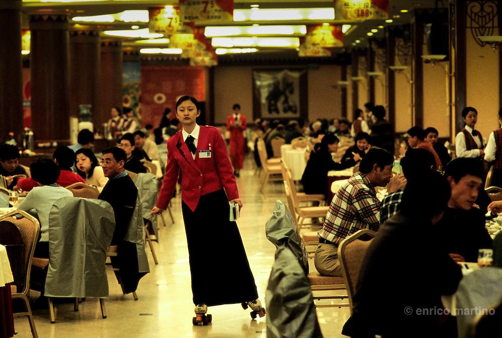 a restaurant where waiters utilizes roller-skates.