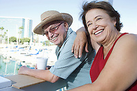 Portrait of senior couple on holidays, smiling