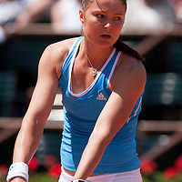 31 May 2009:  Dinara Safina of Russia serves during the Women's Singles fourth round match on day eight of the French Open at Roland Garros in Paris, France.
