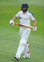 Dejection for Yorkshire's Tim Bresnan after being dismissed. Photo mandatory by-line: Harry Trump/JMP - Mobile: 07966 386802 - 27/05/15 - SPORT - CRICKET - LVCC County Championship - Division 1 - Day 4 - Somerset v Yorkshire - The County Ground, Taunton, England.