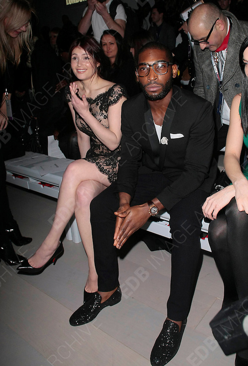 18.FEBRUARY. LONDON<br /> <br /> GEMMA ARTERTON AND TINIE TEMPAH AT THE ISSA FASHION SHOW AT SOMERSET HOUSE FOR DAY 2 OF LONDON FASHION WEEK.<br /> <br /> BYLINE: EDBIMAGEARCHIVE.COM<br /> <br /> *THIS IMAGE IS STRICTLY FOR UK NEWSPAPERS AND MAGAZINES ONLY*<br /> *FOR WORLD WIDE SALES AND WEB USE PLEASE CONTACT EDBIMAGEARCHIVE - 0208 954 5968*