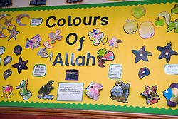 Notice board showing stars the Colours of Allah at the Nottingham Islamia school,