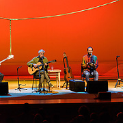 BETHESDA, MD - April 15th, 2019 - Brazilian guitarist Caetano Veloso (2nd from left) performs at The Music Center at Strathmore in North Bethesda, MD with his sons, Zeca, Moreno and Tom. (Photo by Kyle Gustafson / For The Washington Post)