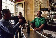 France. Paris. 1st district. le Rubis wine bar ,cafe retaurant, patrons at the bar