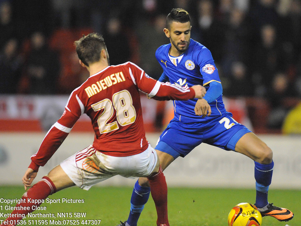 RIYAD MAHREZ LEICESTER CITY, Nottingham Forest v Leicester City, City Ground Nottingham,  Sky Bet Championship, 19th Febuary 2014