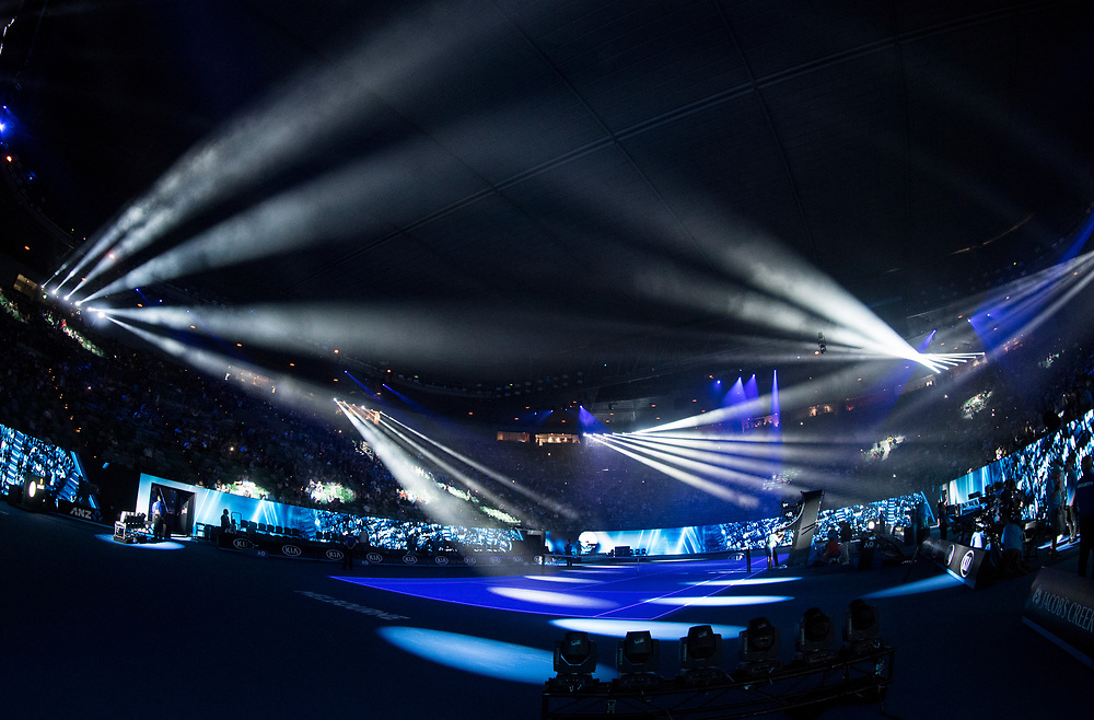 The evening session light show at Rod Laver Arena on day one of the 2018 Australian Open in Melbourne, Australia on Monday January 15, 2018.<br /> (Ben Solomon/Tennis Australia)