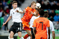 Leon Goretzka of Germany and Jorrit Hendrix of Netherlands during the UEFA European Under-17 Championship Final match between Germany and Netherlands on May 16, 2012 in SRC Stozice, Ljubljana, Slovenia. (Photo by Urban Urbanc / Sportida.com)