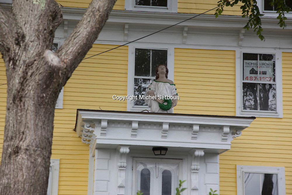 United States. Cape Cod in Massachussets. wood sculpture on traditional wood house in  provincetown city in