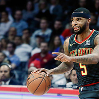 08 January 2018: Atlanta Hawks guard Malcolm Delaney (5) is seen during the LA Clippers 108-107 victory over the Atlanta Hawks, at the Staples Center, Los Angeles, California, USA.
