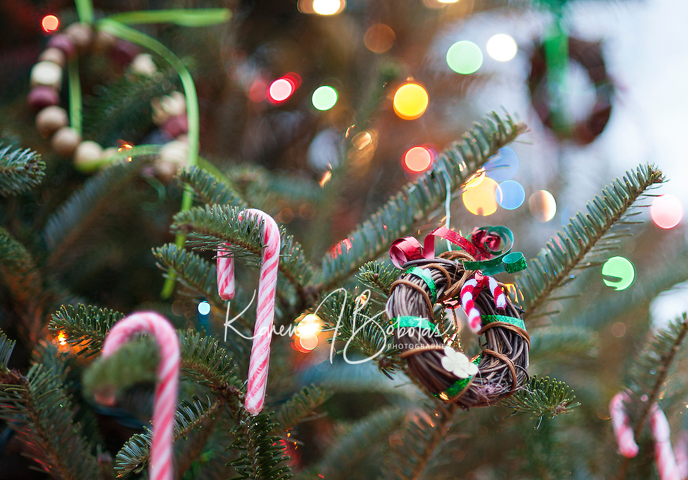 Homemade ornaments adorn the Christmas Tree in Meredith Park made by family and friends at the Meredith Library in conjunction with the Greater Meredith Program.  (Karen Bobotas/for the Laconia Daily Sun)