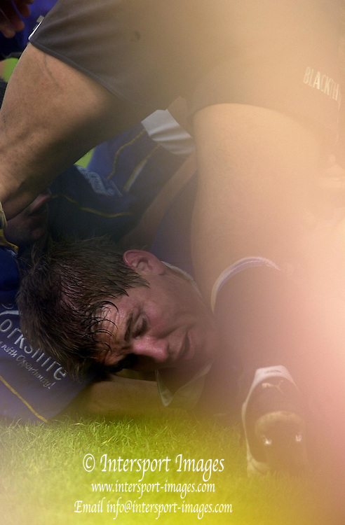 14/04/2002.Sport - Rugby Union.Zurich Premiership.Bath vs Leeds.A partial visable Dan Lyle at the bottom of his attempted try.... [Mandatory Credit:Peter SPURRIER/Intersport Images]