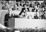 Fianna Fáil Árd Fheis.  (R31)..1986..19.04.1986..04.19.1986..19th April 1986..The Fianna Fáil party held their Árd Fheis at the Simmonscourt, RDS,Dublin over this weekend. the keynote address was given by the party leader Mr Charles Haughey TD.
