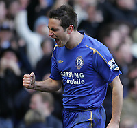 Photo: Lee Earle.<br /> Chelsea v Portsmouth. The Barclays Premiership. 25/02/2006. Chelsea's frank Lampard celebrates after scoring the opening goal.