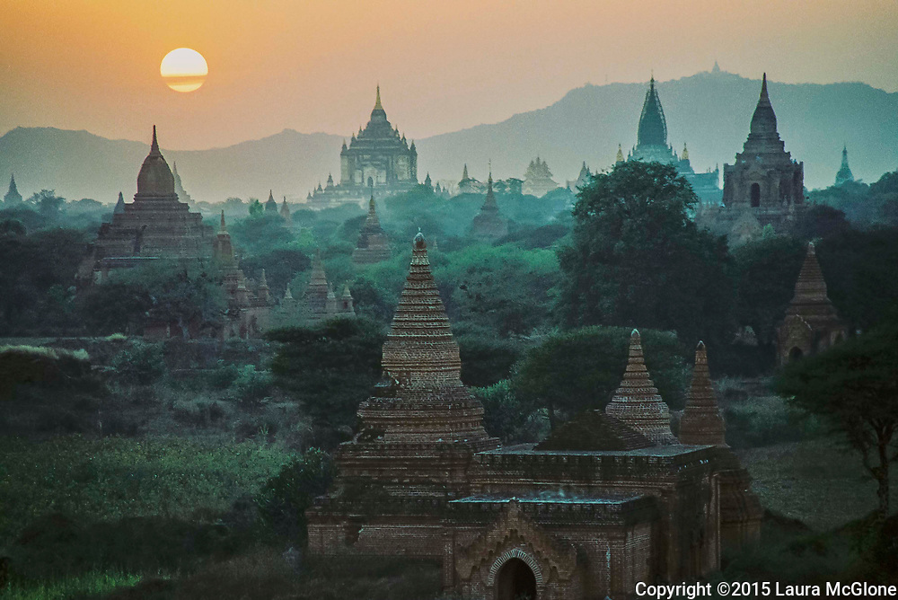 Bagan Temples at Sunset, Burma (Myanmar)