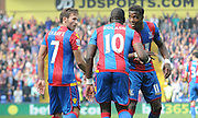 Wilfred Zaha, Yohan Cabaye and Yannick Bolasie celebrate their opener during the Barclays Premier League match between Crystal Palace and West Bromwich Albion at Selhurst Park, London, England on 3 October 2015. Photo by Michael Hulf.