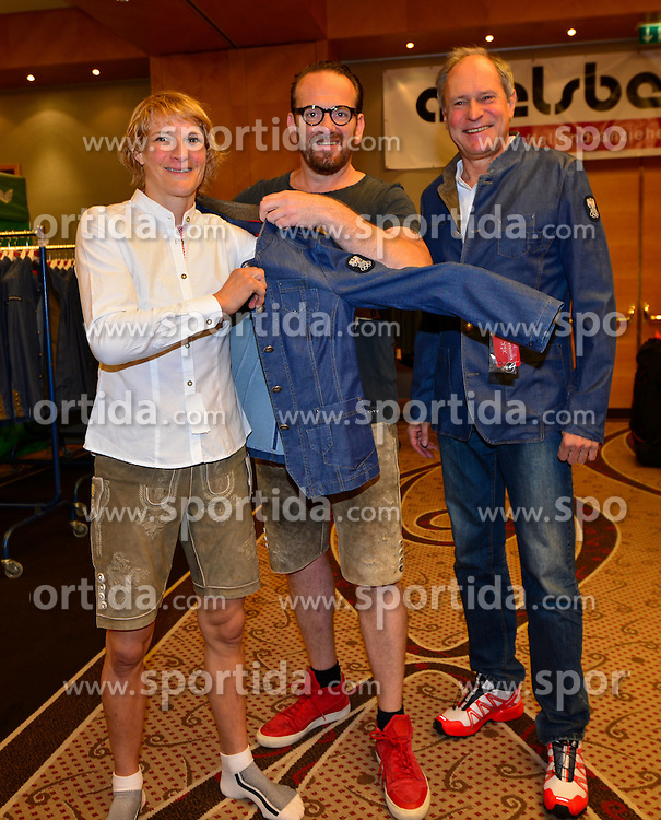 16.07.2016, Hotel Mariott, Wien, AUT, Olympia, Rio 2016, Einkleidung OeOC, im Bild Sarina Filzmoser mit Bernhard Adelsberger und Peter Mennel (ÖOC) // during the outfitting of the Austrian National Olympic Committee for Rio 2016 at the Hotel Mariott in Wien, Austria on 2016/07/16. EXPA Pictures © 2016, PhotoCredit: EXPA/ Erich Spiess