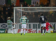 20th September 2017, Dens Park, Dundee, Scotland; Scottish League Cup Quarter-final, Dundee v Celtic; Celtic's   Scott Sinclair scores from the penalty spot for 1-0