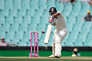 Indian player Mayank Agarwal misses the ball at the 4th Cricket Test Match between Australia and India at The Sydney Cricket Ground in Sydney, Australia on 03 January 2019.